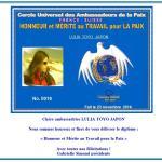 Diplôme « Honneur et Mérite au Travail pour la Paix »